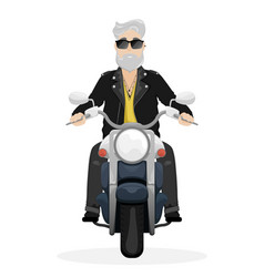 a man with gray hair and a beard on a motorcycle vector image