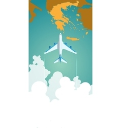 Airplane flying through clouds above the map vector