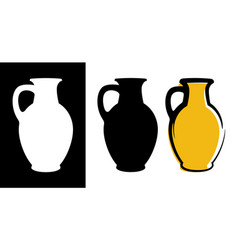 amphora image in yellow color and silhouettes in vector image