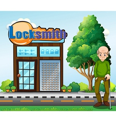 An old man standing in front of the locksmith vector