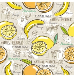 Background with bananas oranges and lemons vector