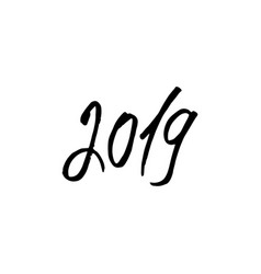 black 2019 new year lettering isolated vector image