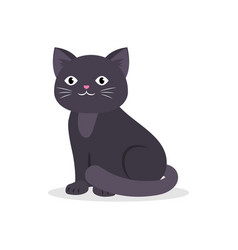 black cute cat sitting cartoon kitten vector image