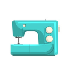 Blue modern electronic sewing machine dressmakers vector