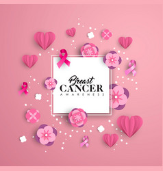 breast cancer care paper cut heart card for love vector image