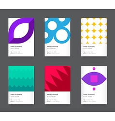 Bright Trendy Vertical Business Card Set vector image