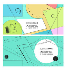 Business card pattern needle and thread concept vector