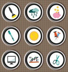 Business icons set flat style over brown backgroun vector