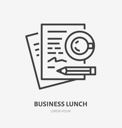 Business lunch flat line icon signing documents vector