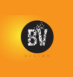 bv b v logo made of small letters with black vector image