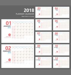 Calendar 2018 planner design vector