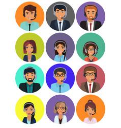 Call center consultants with headphones online vector