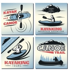 Canoe Emblem Designs Set vector