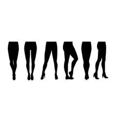 cartoon silhouette black women legs icon set vector image