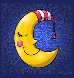 Cartoon sleeping moon in striped nightcap on dark vector