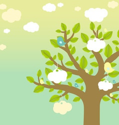 cartoon tree and bird vector image