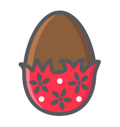 chocolate egg with wrapper filled outline icon vector image
