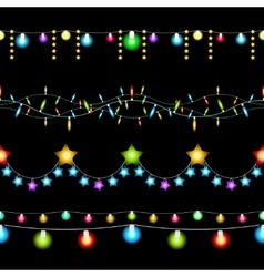 Christmas lights patterns vector