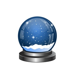 christmas snow globe with falling snow vector image