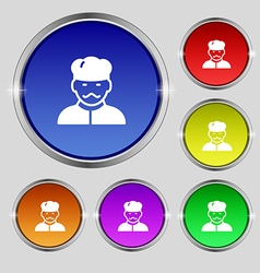 Cook icon sign Round symbol on bright colourful vector