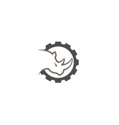 creative black rhinoceros gear logo design symbol vector image