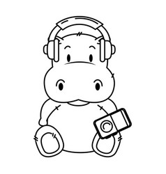 Cute little hippo character vector