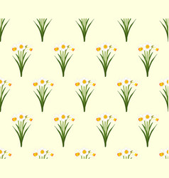 Daffodil - narcissus seamless on ivory beige vector