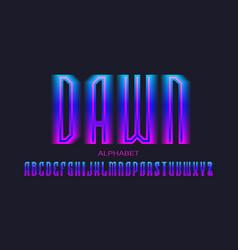 Dawn alphabet blue pink gradient letters vector