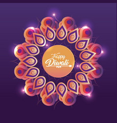 Diwali festival with flower mandala and lights vector