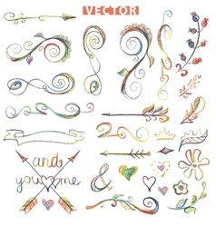 doodle decor elements setcolored crayon vector image