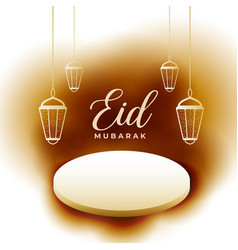 eid mubarak card with product podium display vector image