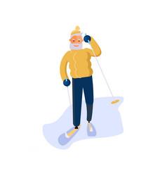 Elderly man character skiing vector
