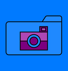 Flat pictures folder icon vector