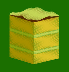 Flat shading style icon piece of cake vector