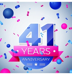 Forty one years anniversary celebration on grey vector image