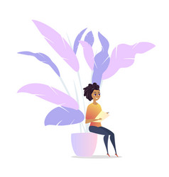 freelancer woman character chill lounge space vector image