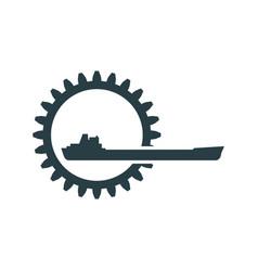 gear with cargo ship vector image