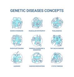 Genetic disease blue concept icons set vector