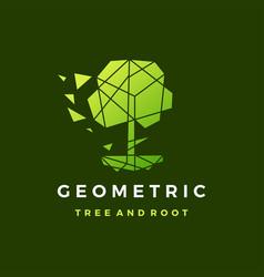 geometric tree root polygonal tech logo icon vector image