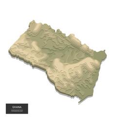 Ghana map - 3d digital high-altitude topographic vector