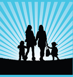 Girls with children walking in nature silhouette vector
