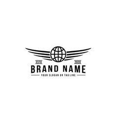 Globe design logo and wing vector