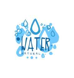 Hand drawn signs of pure water drops for logo with vector