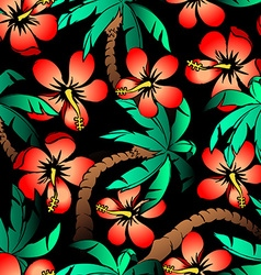 Hand drawn tropical palm and hibiscus seamless vector