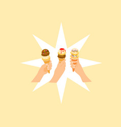 hands of three women are holding up ice cream vector image