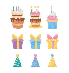 Happy birthday cakes with candles cupcake gift vector