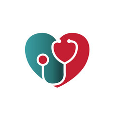 heart with stethoscope medical care logo vector image