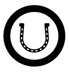 Horseshoe icon black color in circle vector
