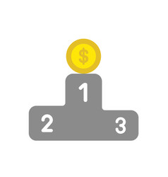 icon concept of dollar money coin on first place vector image