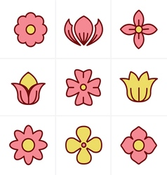 Icons Style Flower Icons Set Design vector